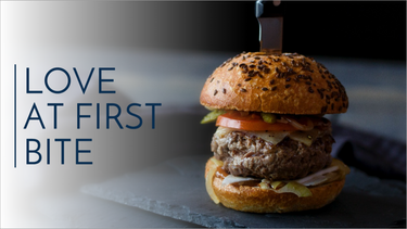 Love at first bite burger social post template