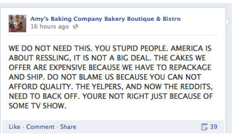 A classic example of a social media meltdown- your customers wish you wouldn't do this