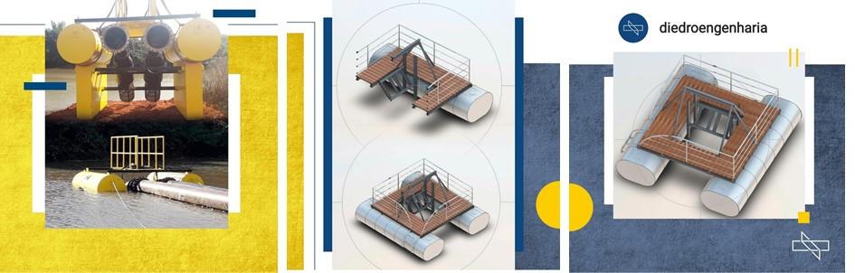 Estrutura flutuante para apoio de bomba de adução