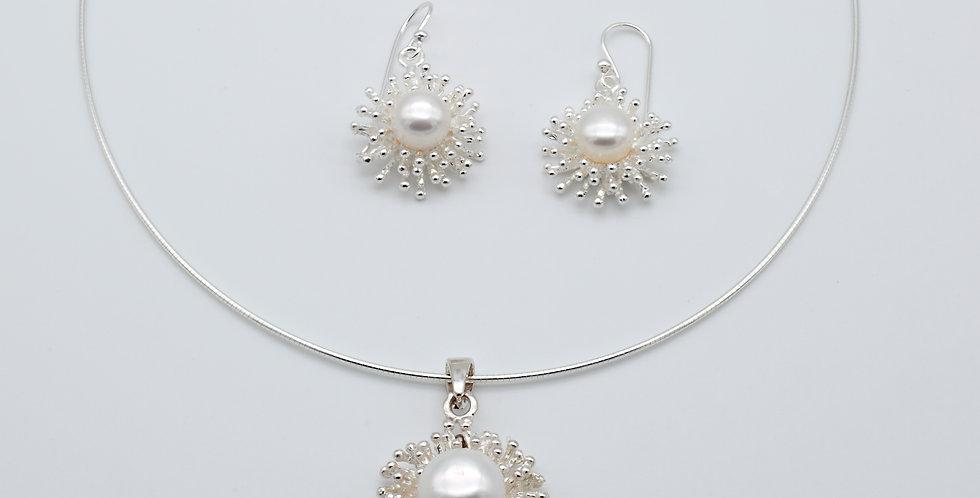 Snowflake Set of Pearl Earrings and Pendant