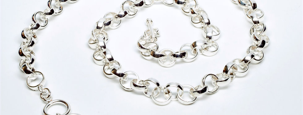 Set of Domed Round Loop Necklace and Bracelet