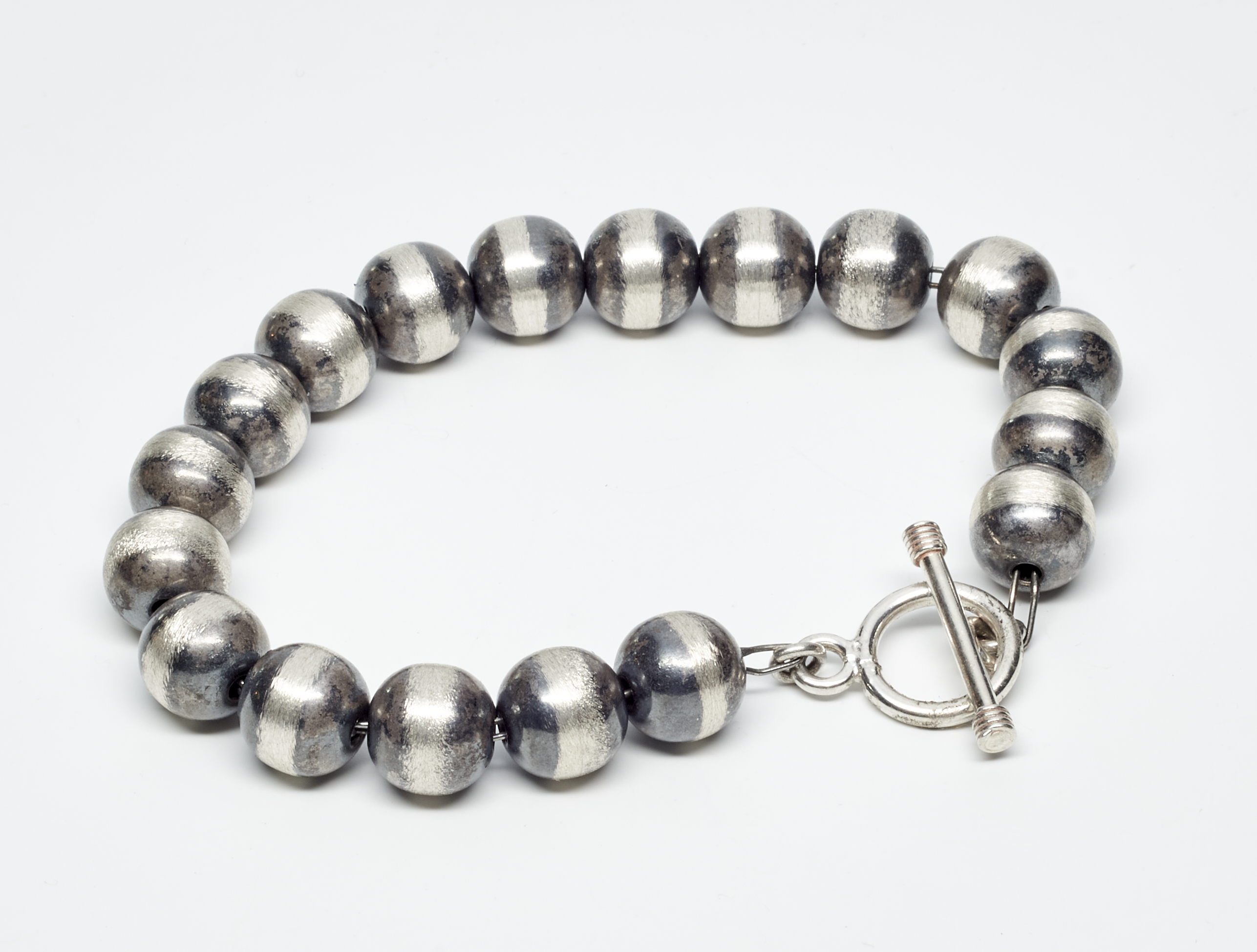 Oxidized 8MM Beaded Bracelet