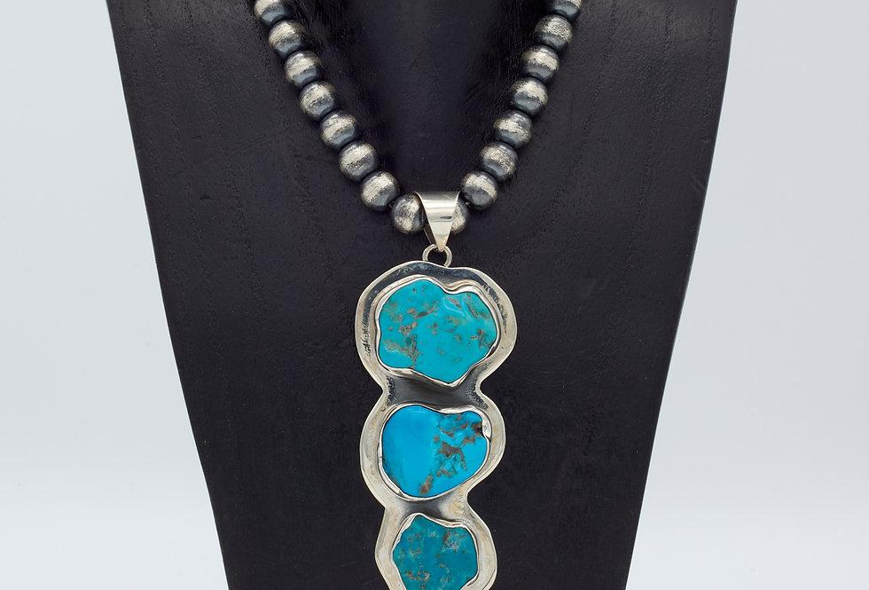3 Stone Sleeping Beauty Turquoise Pendant