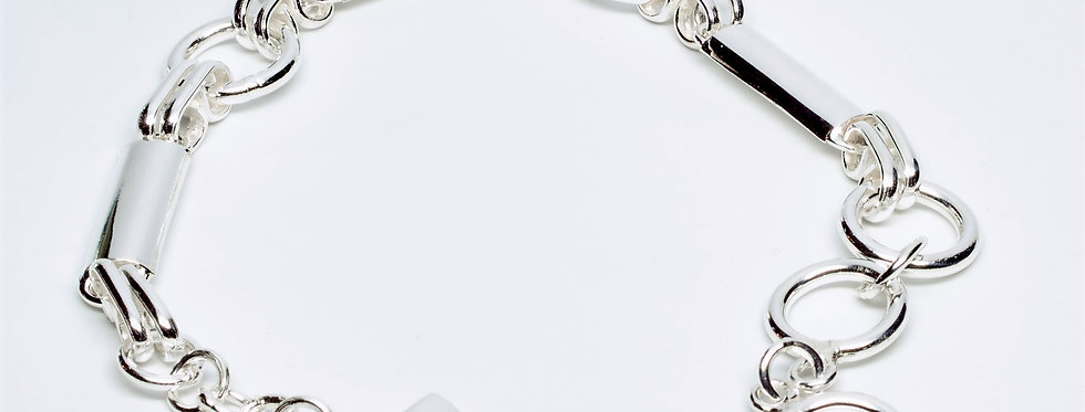 Domed Bar Sterling Silver Chain Link Bracelet