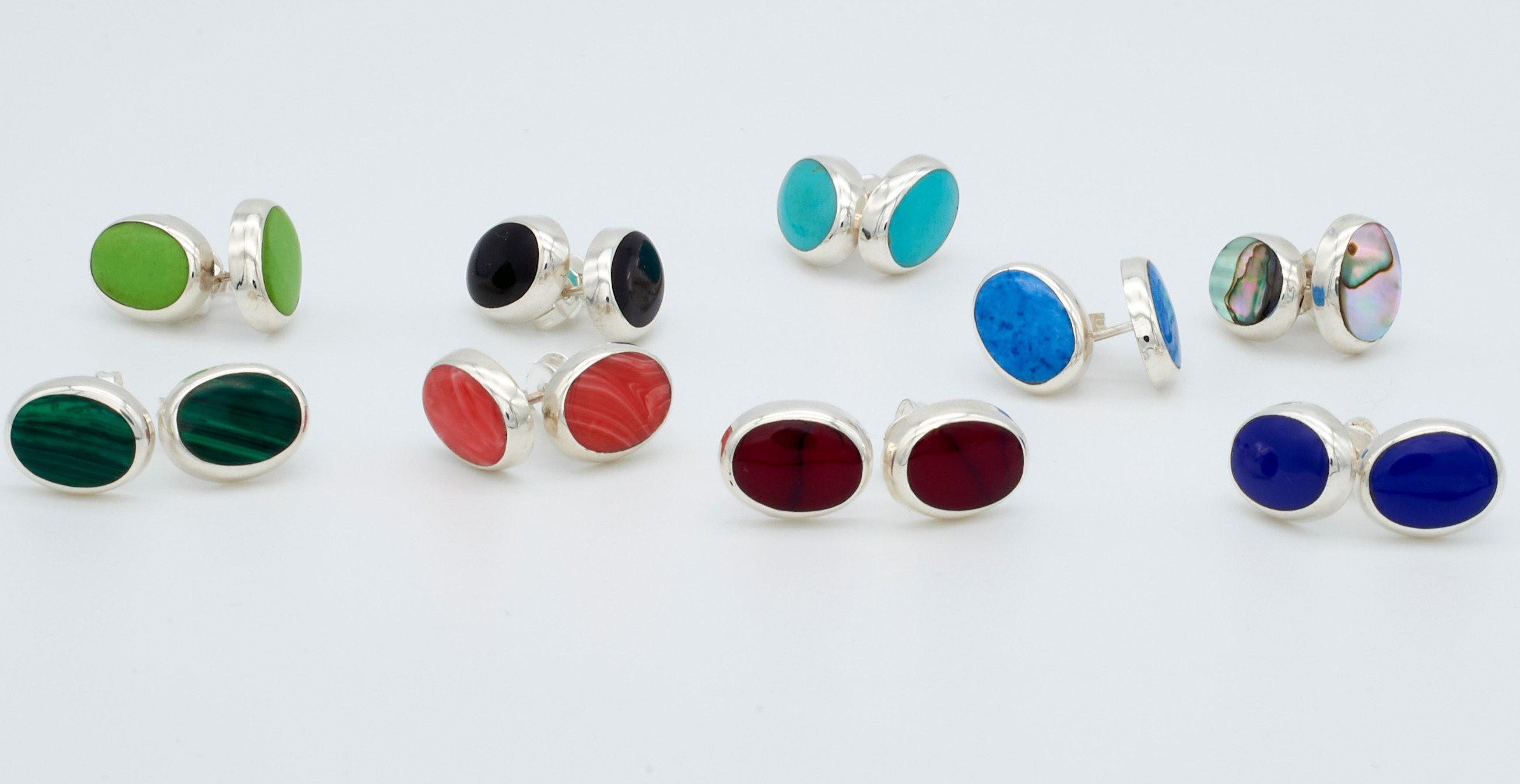 Oval Studs with Enamel Stones
