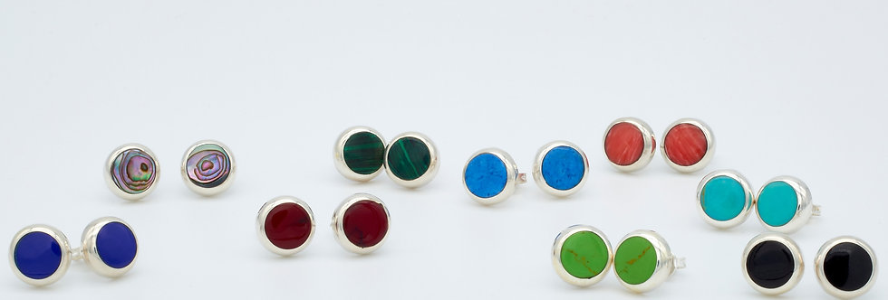 Round Stud Earrings with Color Enamel Stones