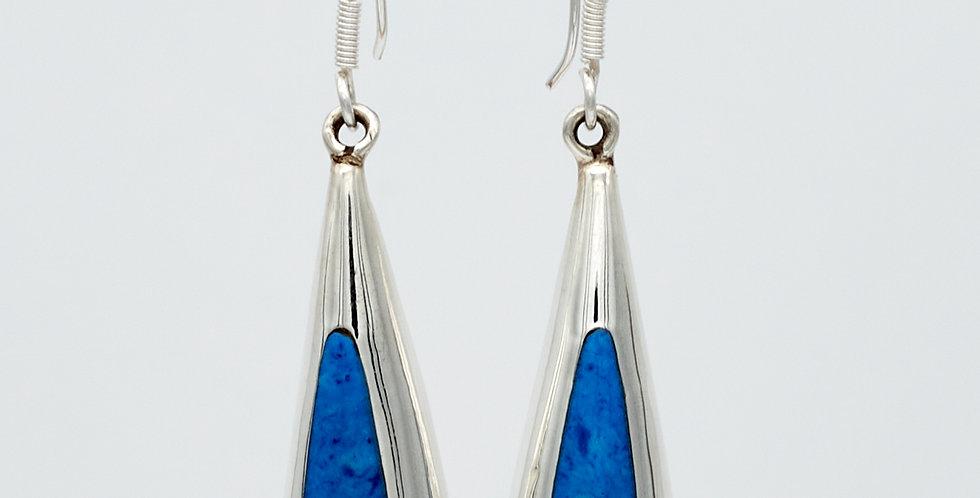 Long Teardrop Dangle Earrings with Enamel Stones