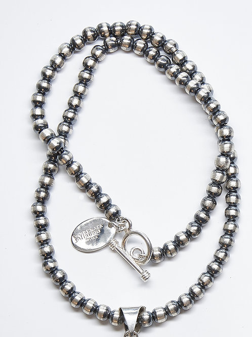 6MM Oxidized Beaded Necklace