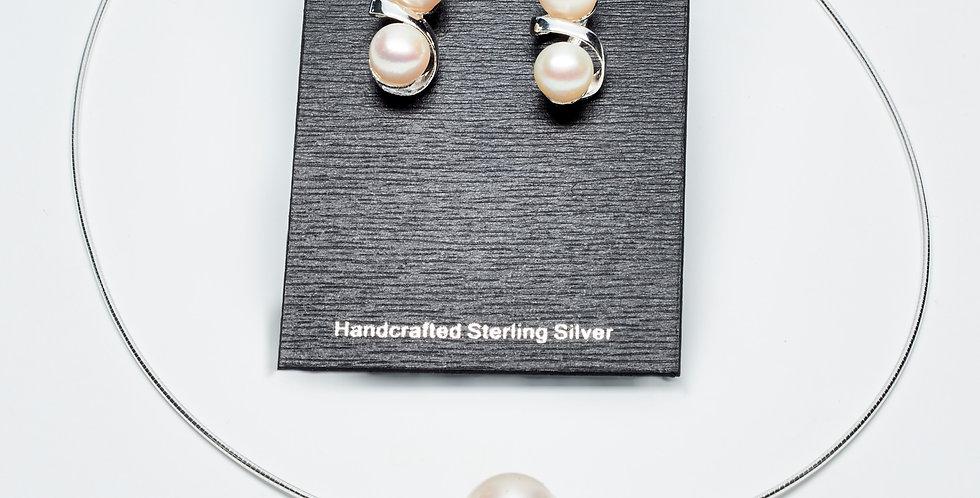 Double Pearl Swirl Set of Earrings and Pendant