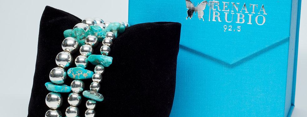 3 Strands of Beads Bracelet with Sonoran Turquoise