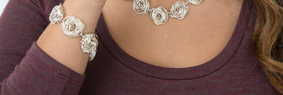 Twisted Rose Set of Necklace, Bracelet and Earrings