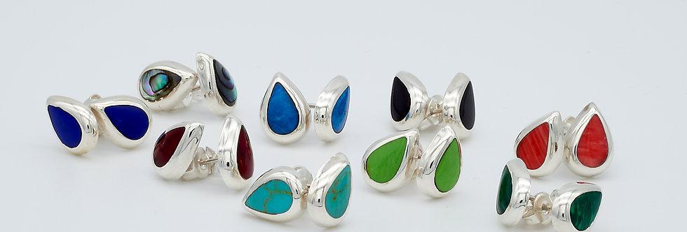 Teardrop Stud Earrings with Enamel Stones
