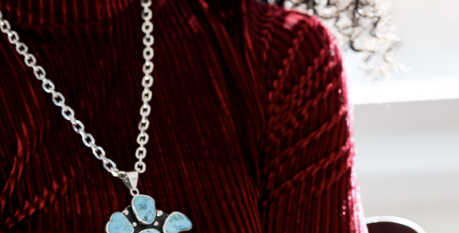 Sleeping Beauty Turquoise Flower Pendant