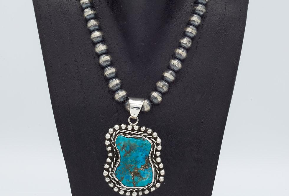 Oxidized Sleeping Beauty Turquoise Pendant