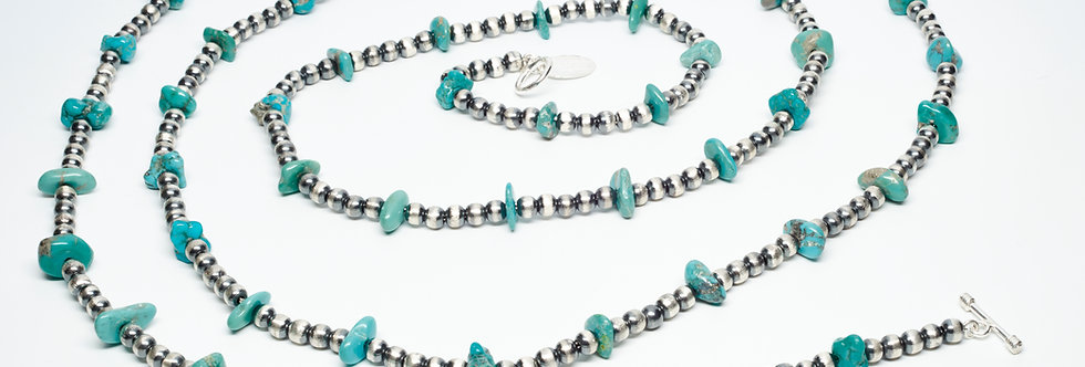 6 Foot Long Sonoran Turquoise Necklace