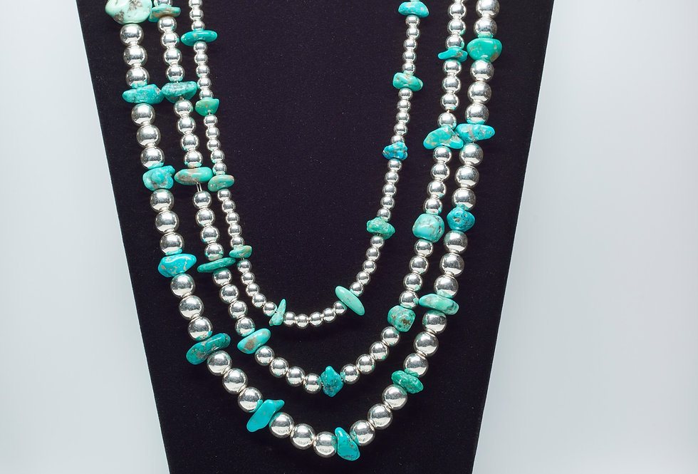 3 Strands of Beads Necklace with Sonoran Turquoise