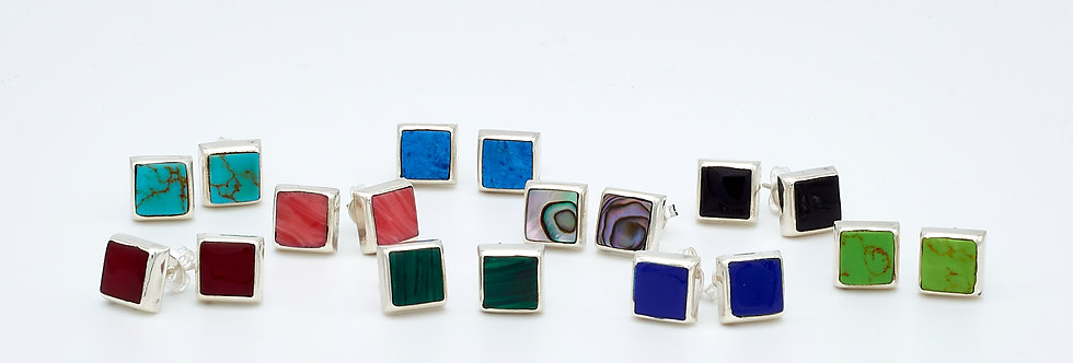 Square Stud Earrings with Color Enamel Stones