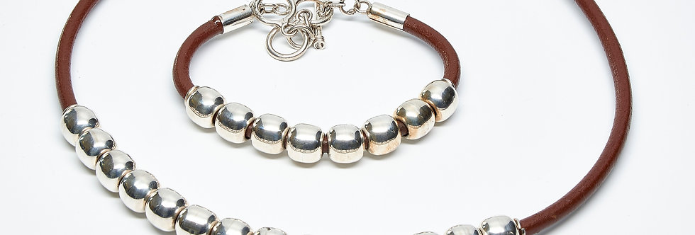 Row of Beads Leather Necklace