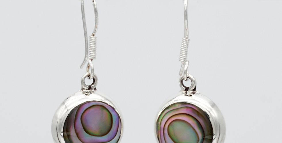 Round Dangle Earrings with Enamel Stones