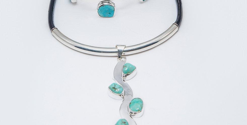 Wavy Sleeping Beauty Turquoise Pendant