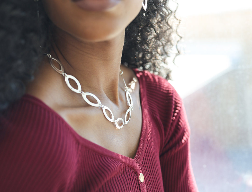 Seed-Shaped Sterling Silver Necklace