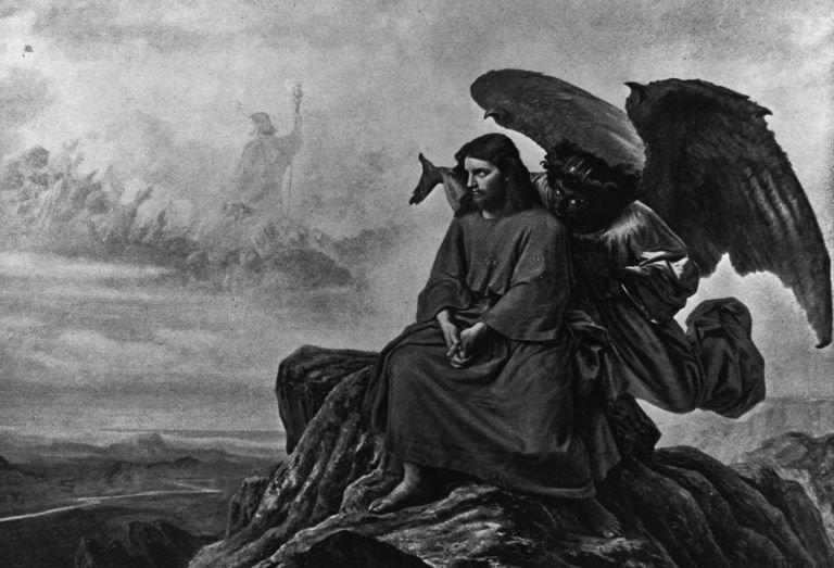 Τίτλος πίνακα: 'Πειρασμός'. Έτος 28 ΜΧ, ο Διάβολος βάζει σε πειρασμό τον Ιησού ενώ βρίσκεται μόνος τ