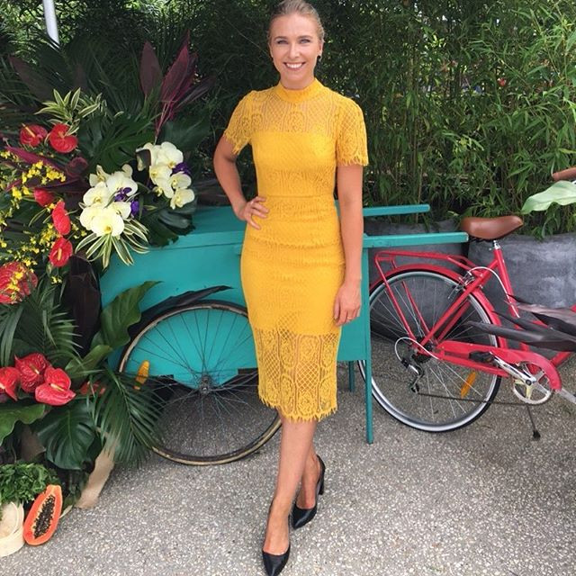 _graceramage taking a break from presenting in this gorgeous yellow lace dress from _mossmanclothing avail _myer perfect for summer Saturday
