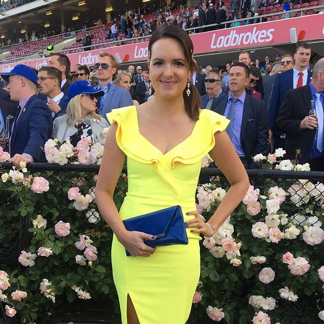 _katewatts_ looking perfect for spring at the Cox Plate yesterday and Winx's historic win_ Stunning lemon frill dress by 🍋_sheikeandco and j