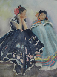 Two Mex Girls 23w x 21.50  Watercolor