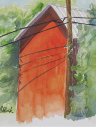 Red Barn 13.50w x 12.25h Watercolor