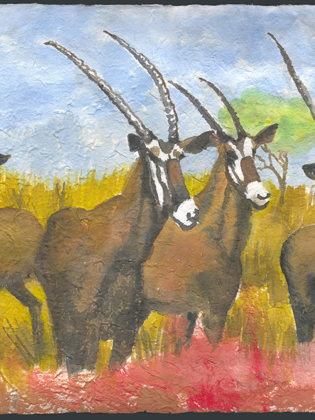 Gensbork of Botswana 22h x 28.50  Mixed Media on Mulberry paper