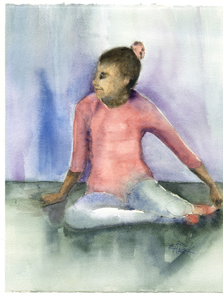 Young Dancer 12.50w x 13.50 Watercolor