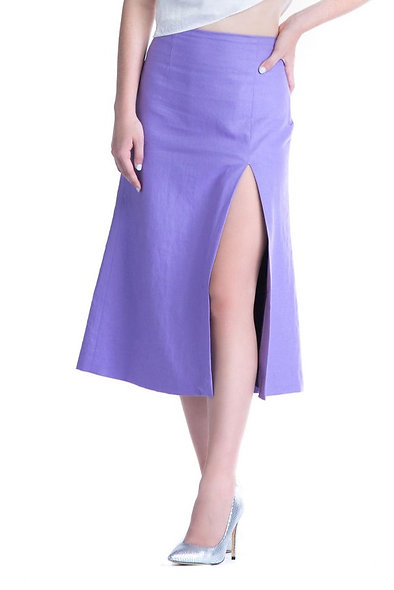 Lilac Linen Midi Skirt
