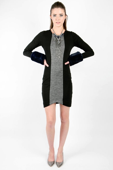 Center Panel Dress Herringbone
