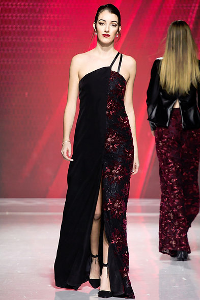 Asymmetrical Crimson Lace Gown