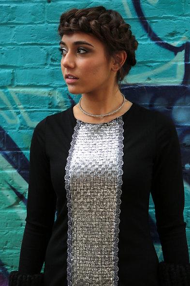 Center Panel Silver Dress