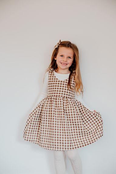 Little girls handmade dress, gingham print