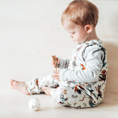 Jude Romper in our Foxes who yoga print