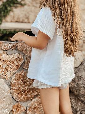 Little girls handmade white spring summer blouse