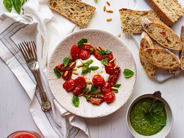 BURRATA CHEESE PLATTER WITH ROASTED ROMA TOMATOES AND PESTO