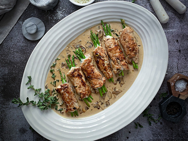 ASPARAGUS CHICKEN ROULADE WITH CREMINI MUSHROOM SAUCE