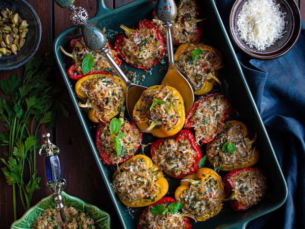 QUINOA AND AMARANTH STUFFED BELL PEPPERS