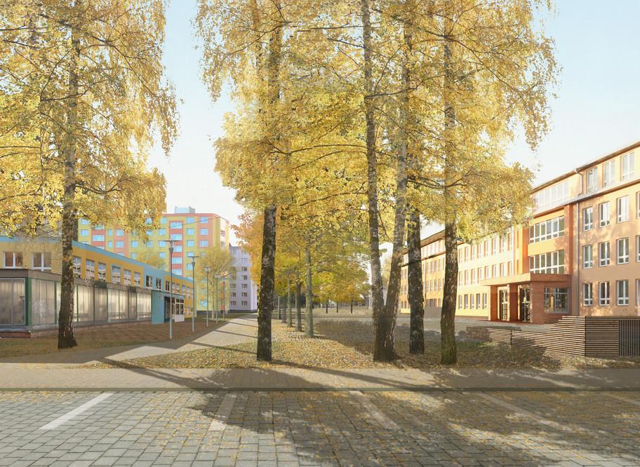 Předprostor školy jako náměstí