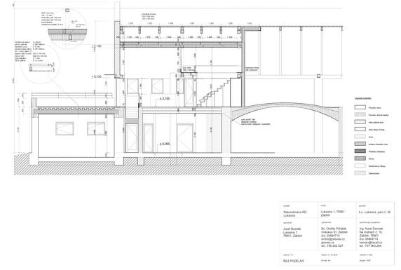 Dokumentace stavby - řez podélný