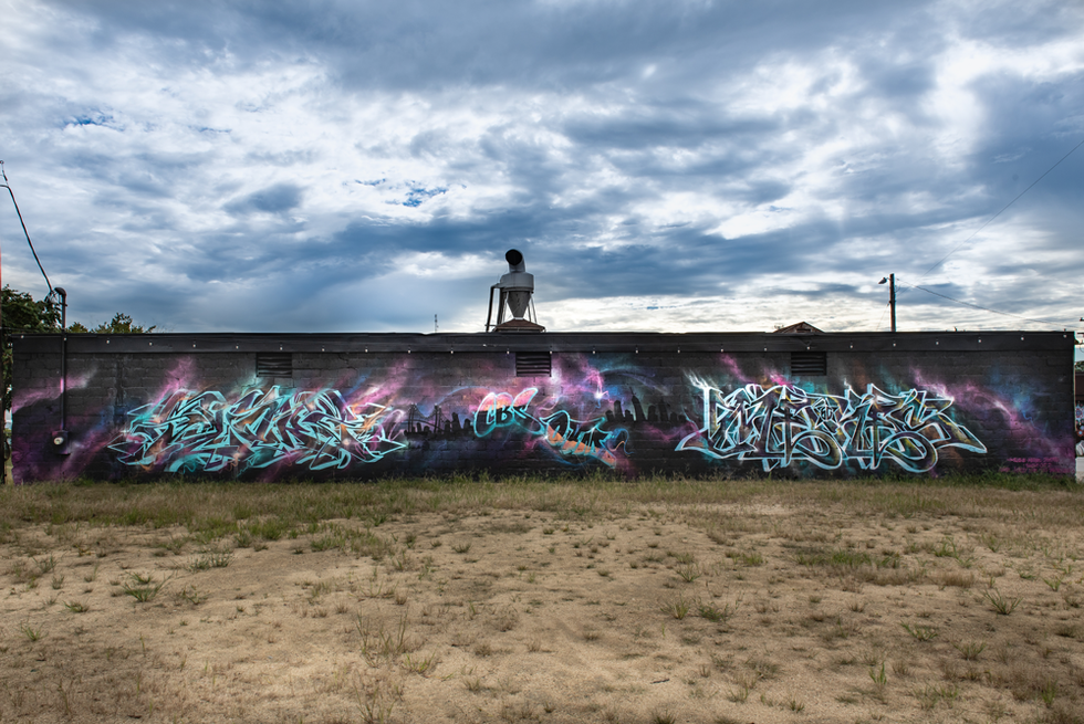 """I painted with Meres was in 2017 for Hopfest. We wanted to draw upon are experience as Graffiti Writers, which is our foundation. I am not a """"street artist"""". The idea was to represent our styles with a production.  special thanks to: ryan saunders and jen graf"""