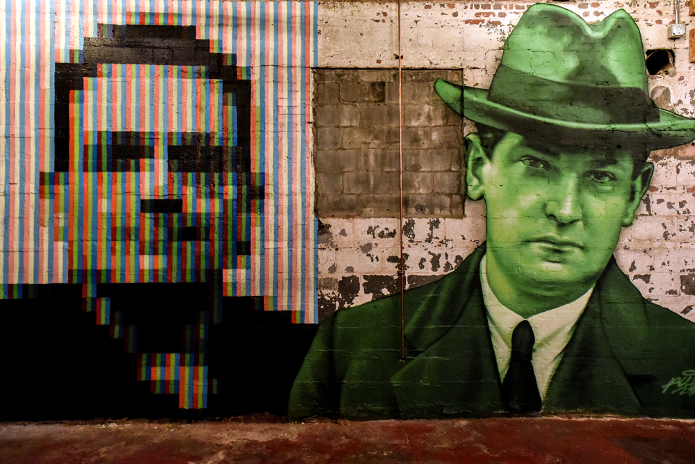 Left, Commisioned piece of Bono, painted in a subpixel style using only Reds Greens and Blues (RGB). Right, Michael Collins, a key leader in the early 20th Century struggle for independence in Ireland. Painted in shades of Green, the colour most associated with Ireland. By Aches. @achesdub
