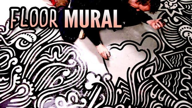 Floor Mural at Pig Pounder Brewery @peterdraws