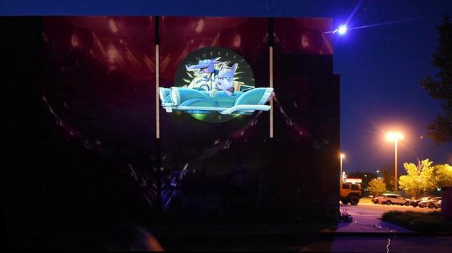 Streetart installation at Red Cinemas @Kram_bcn and @Groovycosta