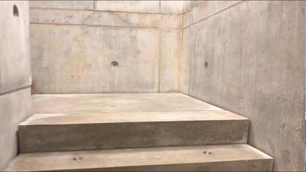 Concrete meets corten.