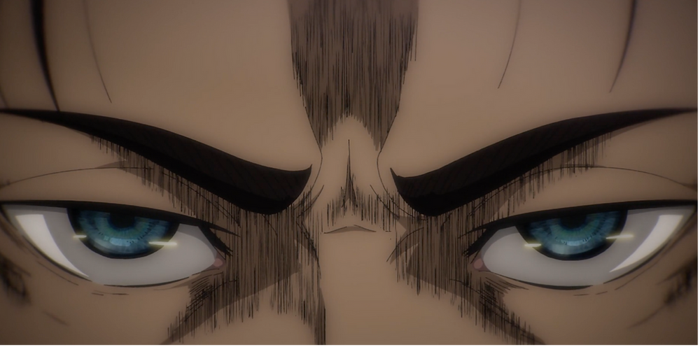 Eren's eyes tainted with his firm resolve for a manslaughter